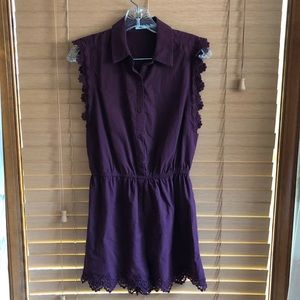 Dark purple romper with lace detail